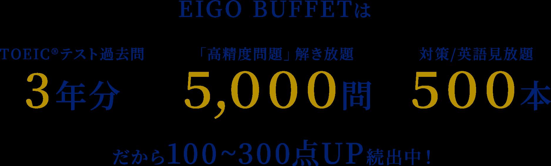 EIGO BUFFETは TOEIC®︎テスト過去問3年分 「高精度問題」解き放題5,000問 対策/英語見放題500本 だから100~300点UP続出中!